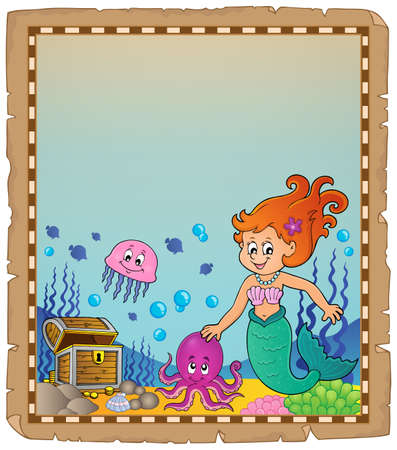 Parchment with mermaid topic 1 - eps10 vector illustration. Ilustrace