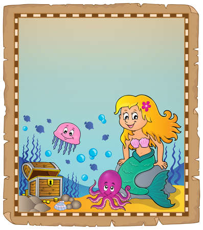 Parchment with mermaid topic 2 - eps10 vector illustration.