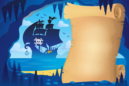 hideout: Parchment in pirate cave image 4 - eps10 vector illustration. Illustration