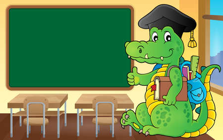 School theme crocodile image 3 - eps10 vector illustration.