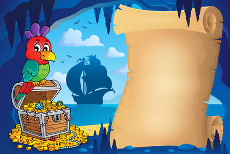 hideout: Parchment in pirate cave image 1 - eps10 vector illustration.