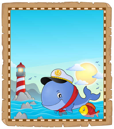 captain cap: Parchment with sailor whale near coast - eps10 vector illustration.