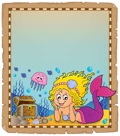 Parchment with mermaid topic 3 - eps10 vector illustration.
