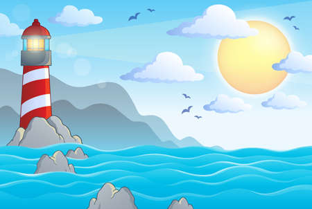 Seascape with lighthouse theme 1 - eps10 vector illustration.