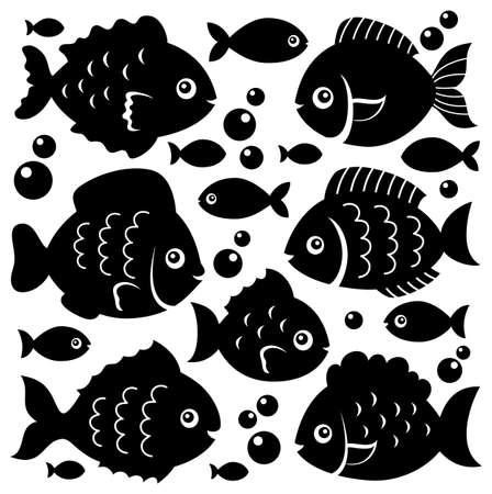 isolate: Fish silhouettes theme set 1 - eps10 vector illustration.