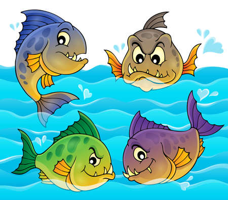 Water and four piranhas - eps10 vector illustration.