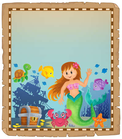 Parchment with mermaid topic 4 - eps10 vector illustration.