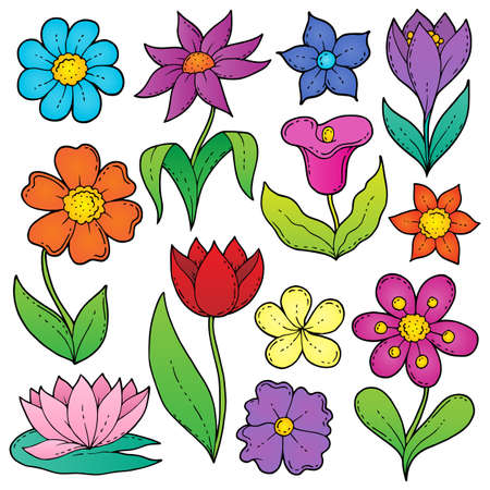 Flower drawings thematic set 2 - eps10 vector illustration.