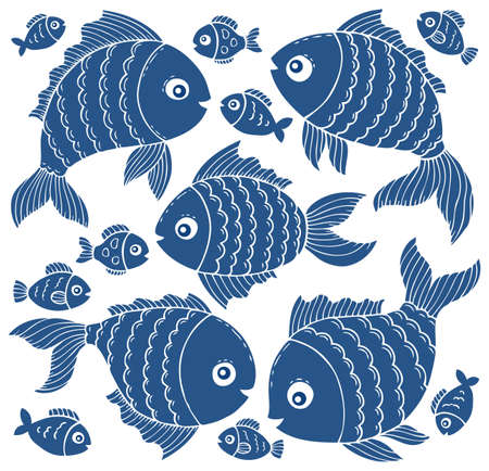 joyful: Fish silhouettes theme set 3 - eps10 vector illustration.