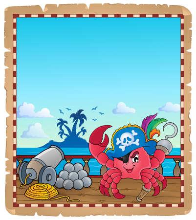 Parchemin avec crabe pirate sur bateau - eps10 illustration vectorielle. Banque d'images - 80116423