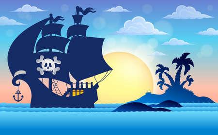 Pirate vessel silhouette theme 5 - eps10 vector illustration.