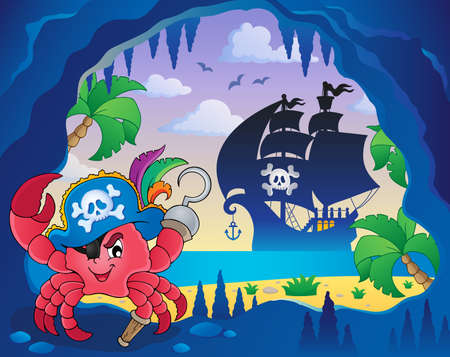 Cave with pirate crab - eps10 vector illustration.