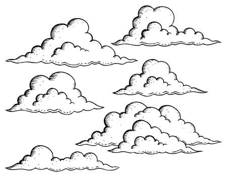 Clouds drawings theme image 1 - eps10 vector illustration.