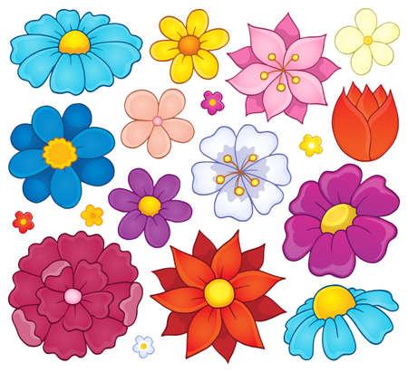 flowerhead: Stylized flower heads theme set 1 - eps10 vector illustration. Illustration