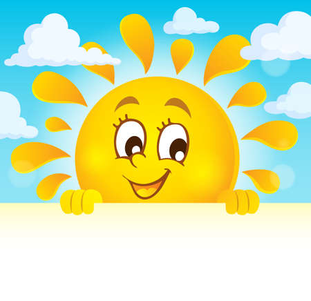 Happy lurking sun theme image Illustration