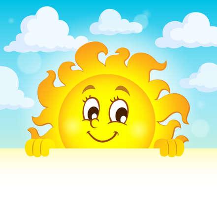 Happy lurking sun theme image Illustration
