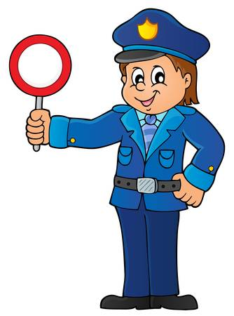 inspect: Policeman holds stop sign theme