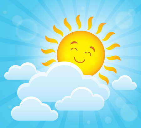 Happy sleeping sun theme image. Illustration