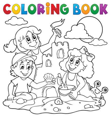 Kleurboek kinderen en zandkasteel. Stock Illustratie