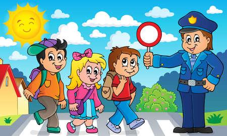 Les élèves et l'image de policier. Banque d'images - 80911869