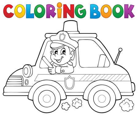 Libro Para Colorear Policía Con Semáforo - Eps10 Ilustración ...