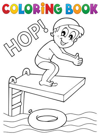 jumping into water: Coloring book boy jumping into water - eps10 vector illustration.