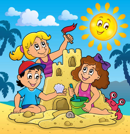 Children building sand castle theme 3 - eps10 vector illustration.