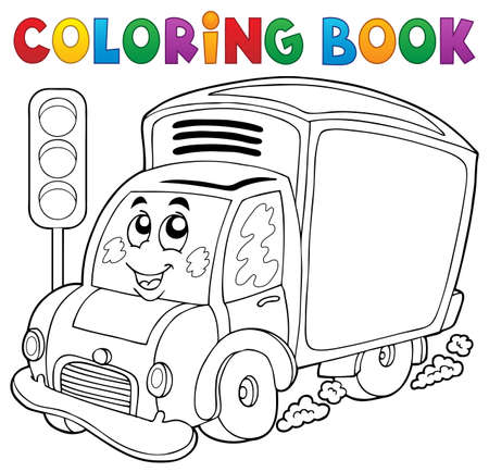 Coloring book cute delivery car - eps10 vector illustration.