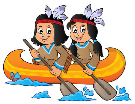 Native American children in boat theme 1 - eps10 vector illustration.
