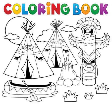 Coloring book Native American campsite - eps10 vector illustration. Illustration