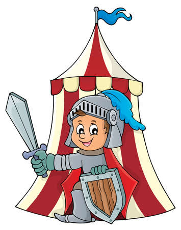 Knight by tent theme image 1 - eps10 vector illustration. Illustration