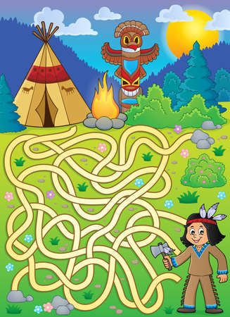 tomahawk: Maze 4 with Native American boy - eps10 vector illustration.