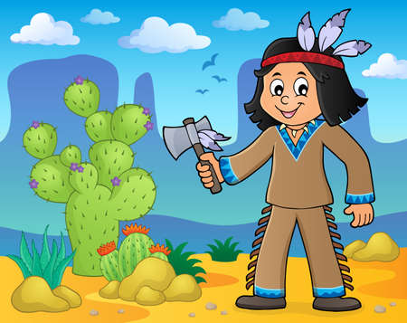 tomahawk: Native American boy theme image 2 - eps10 vector illustration.