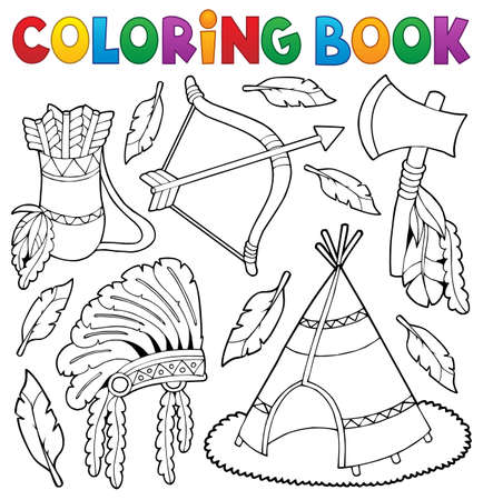Coloring book Native American theme 1 - eps10 vector illustration. Illustration