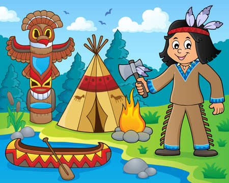 Native American boy theme image 1 - eps10 vector illustration.