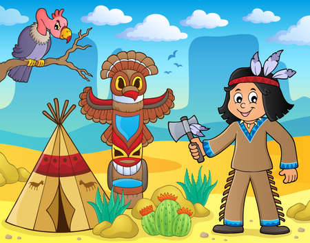 Native American boy theme image 3 - eps10 vector illustration.
