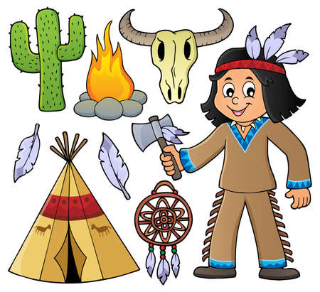 tomahawk: Native American boy and various objects - eps10 vector illustration. Illustration