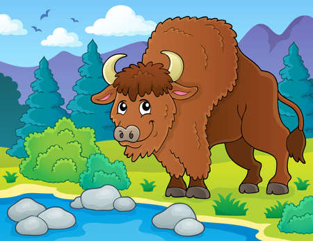 Bison theme image 2 - eps10 vector illustration. Illustration