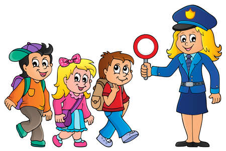 Pupils and policewoman image 1 - eps10 vector illustration. Illustration