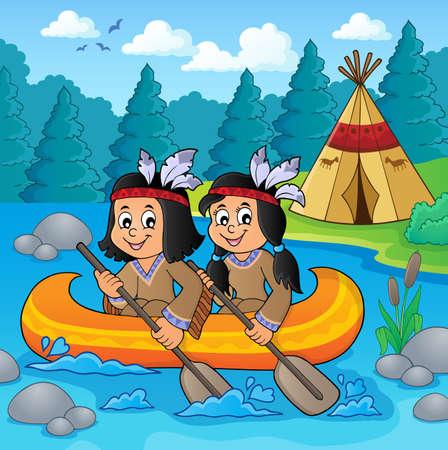Native American children in boat theme 2 - eps10 vector illustration.