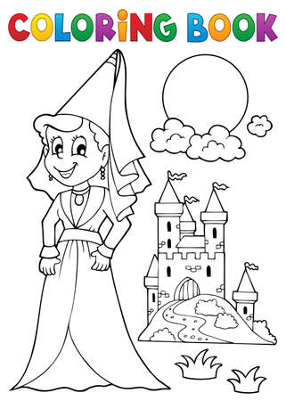 Coloring book medieval lady - eps10 vector illustration.