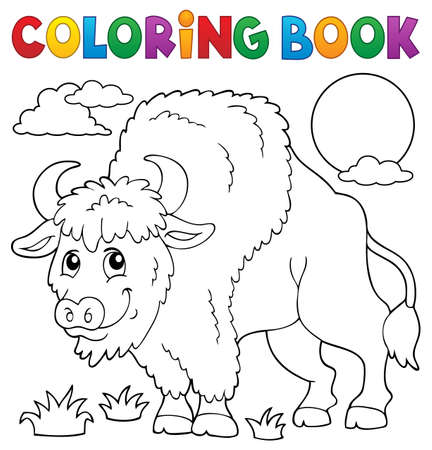 Coloring book bison theme 1 - eps10 vector illustration.