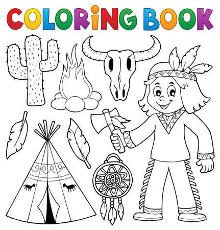 Dibujo Para Colorear Nativo Americano Tema 1 - Eps10 Ilustración ...