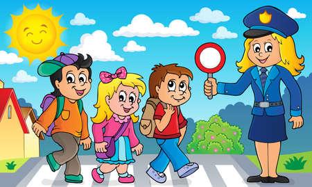 Leerlingen en politieagent afbeelding 2 - eps10 vectorillustratie. Stock Illustratie