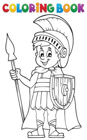 Coloring book Roman soldier - eps10 vector illustration. Stock Illustratie