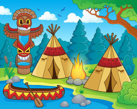 Inheemse Amerikaanse camping thema afbeelding 1 - eps10 vector illustratie. Stock Illustratie