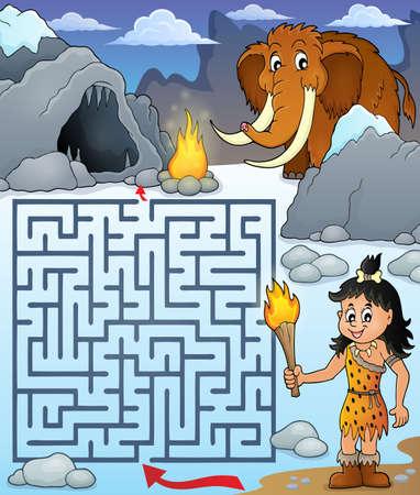 Maze 3 met prehistorisch thema 1 - eps10 vectorillustratie.