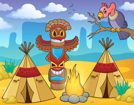 Native American campsite theme image 2 - eps10 vector illustration.