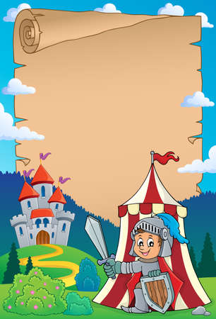 Parchment with knight by tent theme 1 - eps10 vector illustration. Illustration