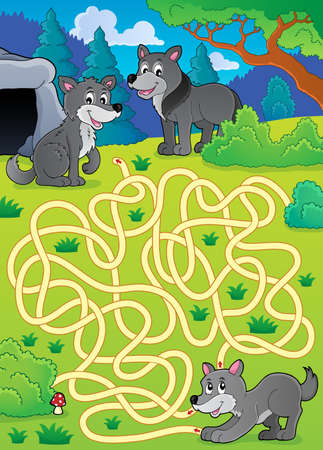 Maze 29 with wolves - eps10 vector illustration. Illustration